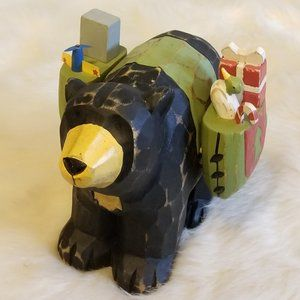Carved Wood Christmas Bear Carrying Toys